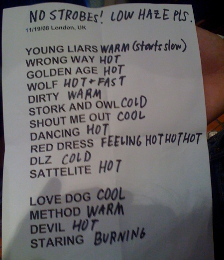 TVOTR set list, Shep Bush, 19th Nov